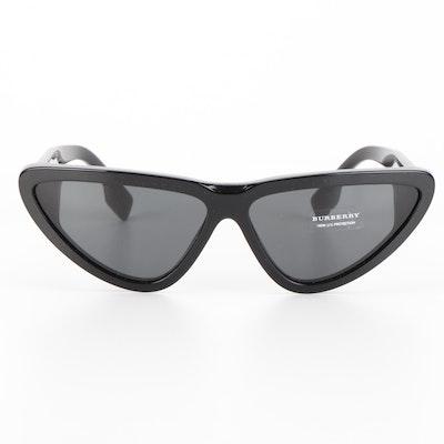 Burberry B 4292 Geometric Cat Eye Sunglasses in Black with Case