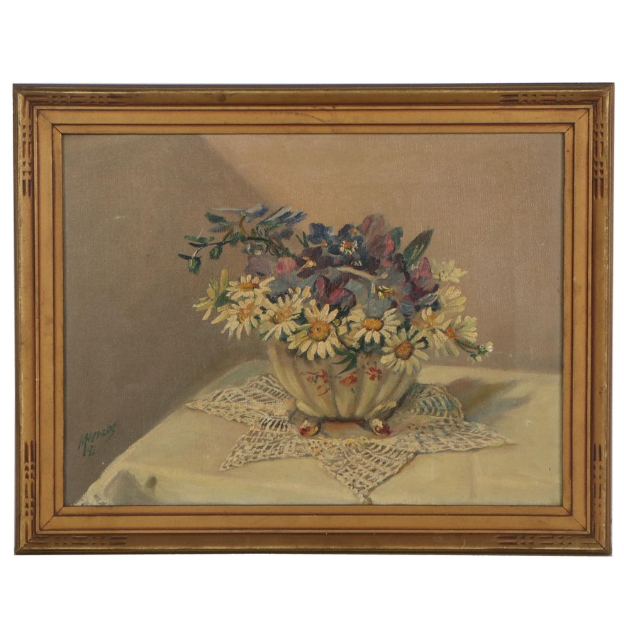 Max Herzog Still Life Oil Painting of Flowers, 1942