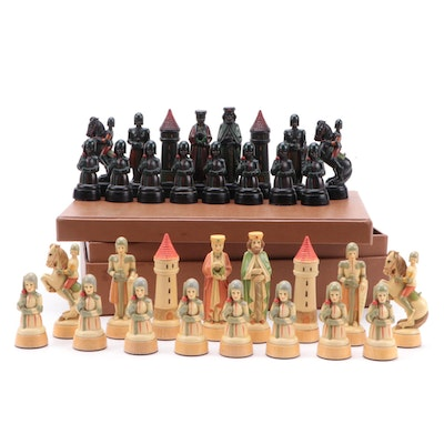 Hand-Painted Resin and Wood Chess Pieces, Mid-20th Century