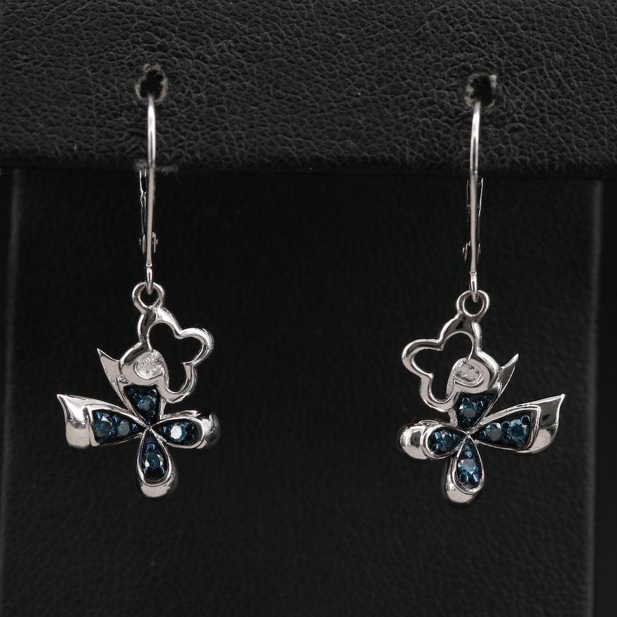 Sterling Diamond Butterfly Earrings