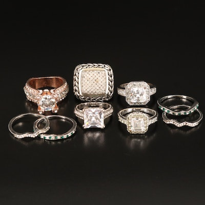 Rings Including Rhinestone and Cubic Zirconia
