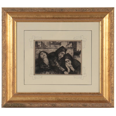 Figural Etching of Mourners, Early 20th Century