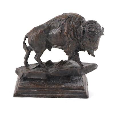 "Ed Natiya Bronze Sculpture ""Call of the Wild Buffalo"""