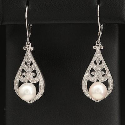 Sterling Silver Pearl and Diamond Drop Earrings
