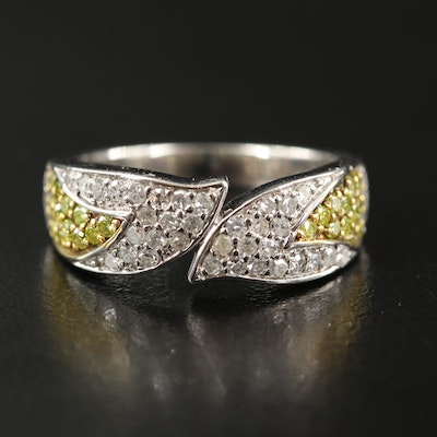Sterling Silver 1.00 CTW Diamond Bypass Band with Fancy Yellow Diamonds