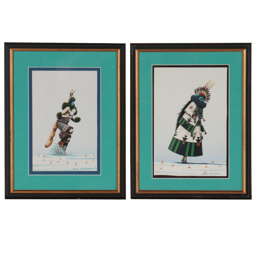 Bruce Watchman Figural Gouache Paintings, Late 20th Century