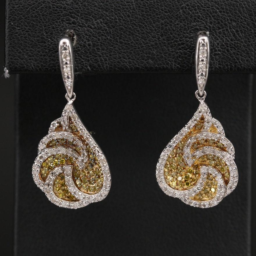 Sterling Pavé 1.23 CTW Diamond Earrings