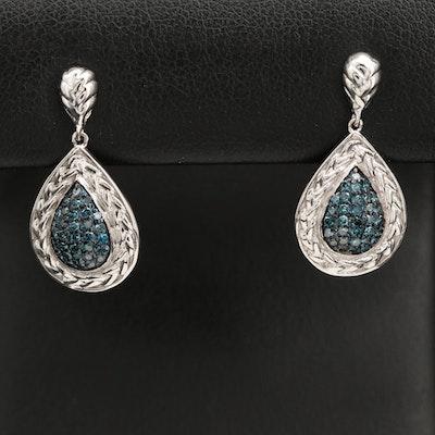 Sterling Silver Pavé Diamond Drop Earrings