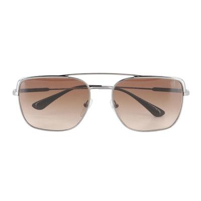 Prada SPR 53V Aviator Sunglasses in Silver Tone with Gradient Lenses with Case