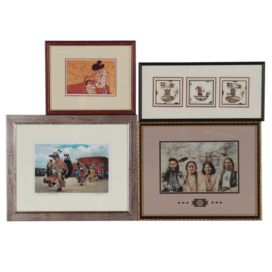 Offset Lithograph of Native American Figures, Late 20th Century