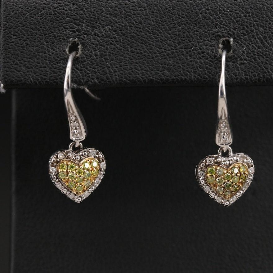 Sterling Pavé Diamond Heart Earrings