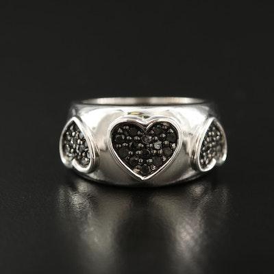 Sterling Diamond Heart Band