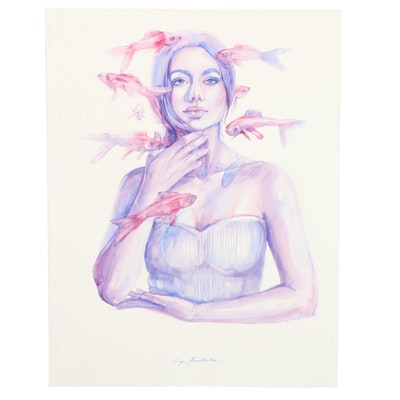 Inga Kovalenko Figural Watercolor Painting of Woman with Fish, 2021