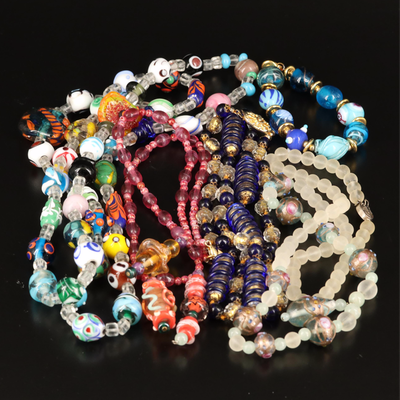 Art Glass, Wedding Cake and Glass Beaded Necklaces and Bracelets