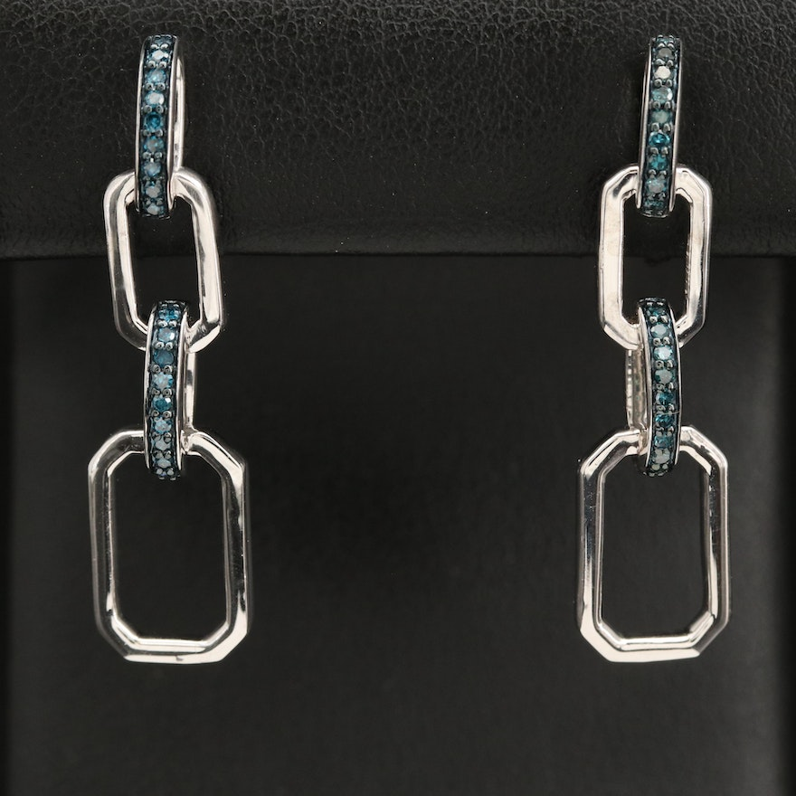 Sterling Silver and Diamond Chain Link Drop Earrings