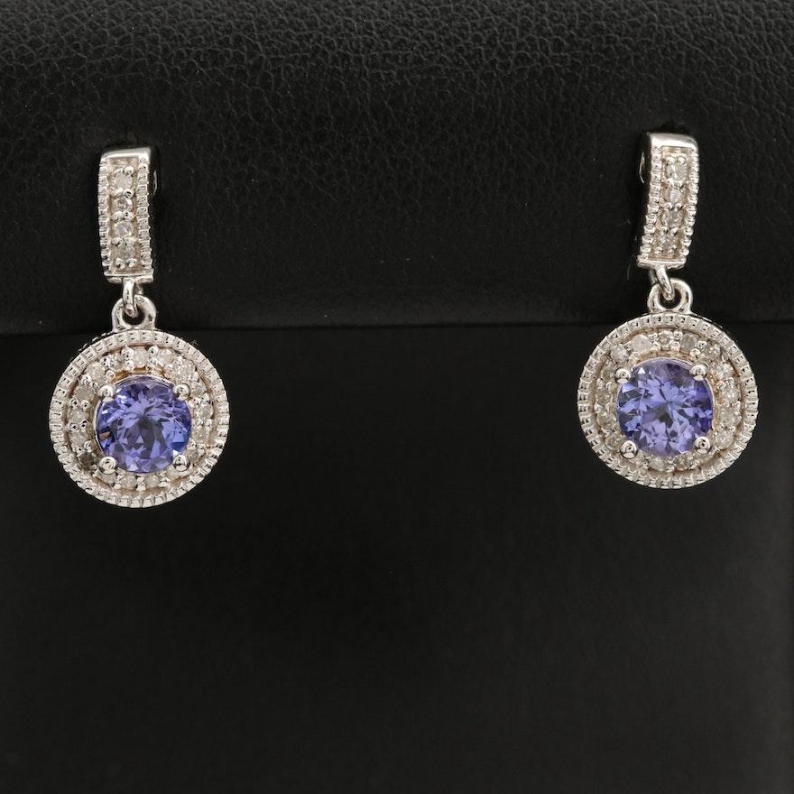 Sterling Tanzanite and Diamond Halo Drop Earrings