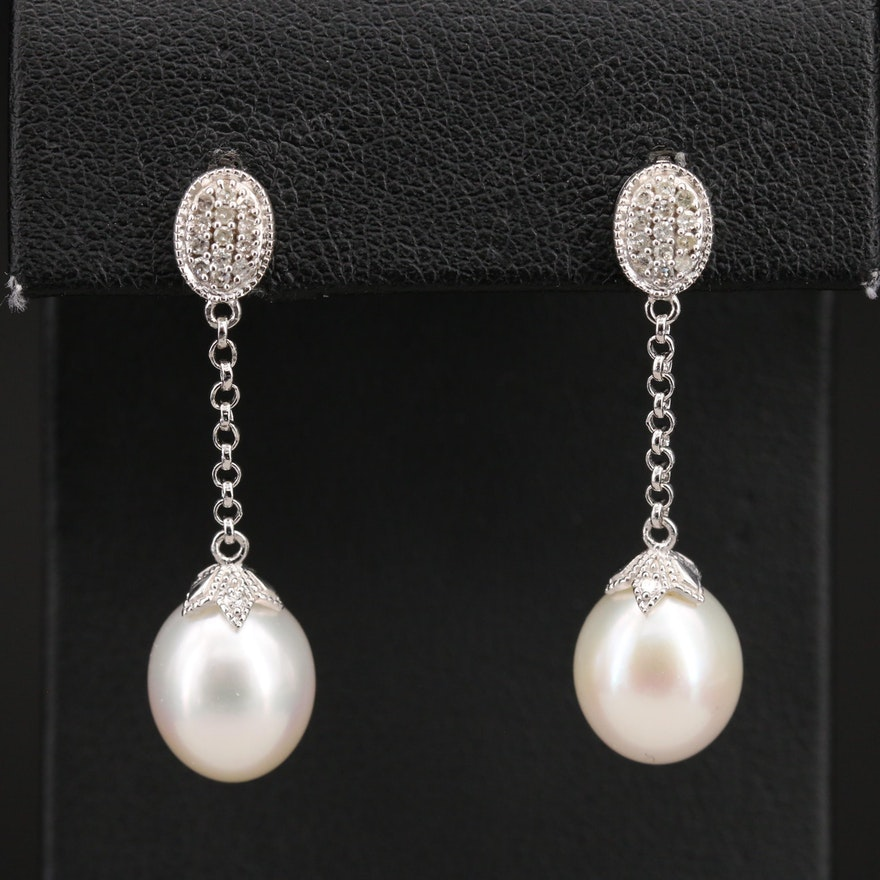 Sterling Pearl and Pavé Diamond Chain Earrings