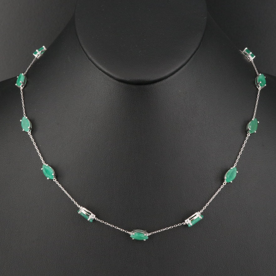 Sterling Silver Emerald Stationary Necklace