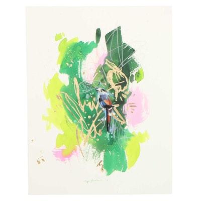 Inga Kovalenko Embellished Gouache Painting of Bird, 2021