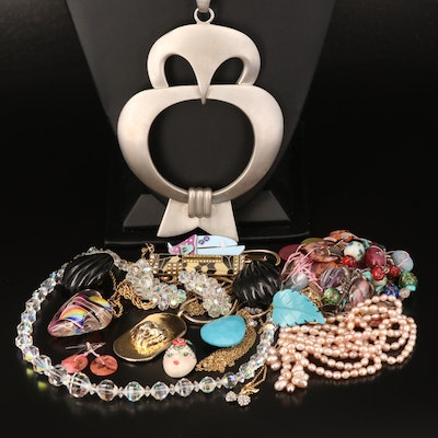 Jewelry Grouping Including Owl, Sautoir Necklace and Lampwork Bead Bracelet