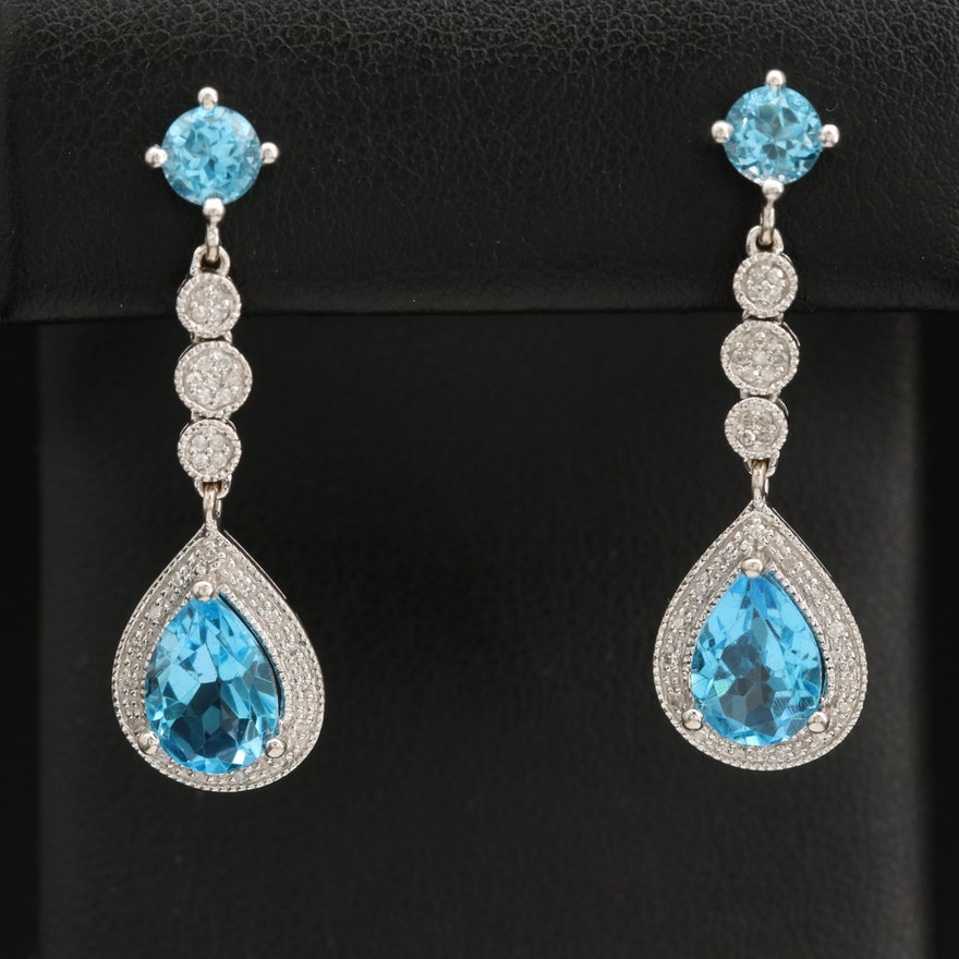 14K Swiss Blue Topaz and Diamond Earrings
