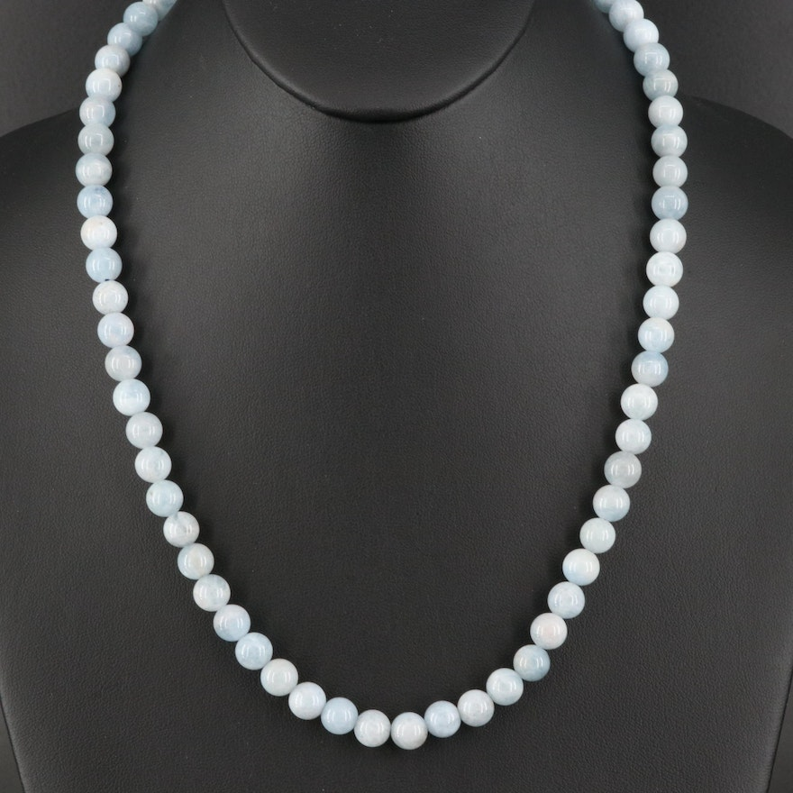 Aquamarine Beaded Necklace With Sterling Silver Clasp