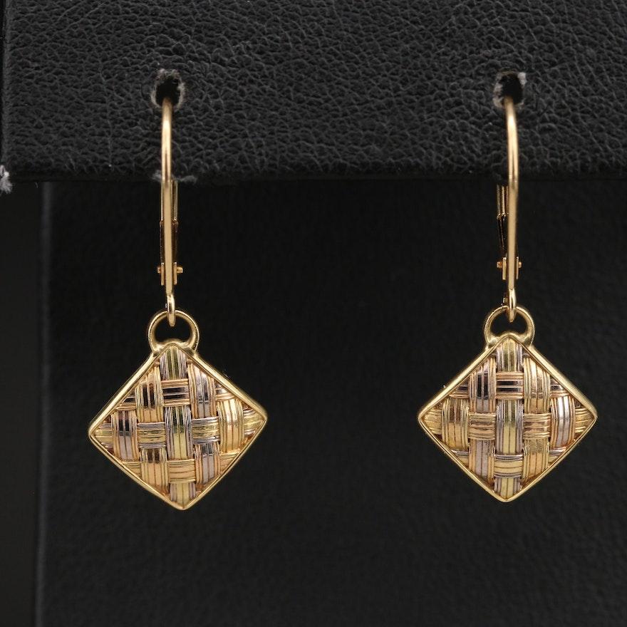 18K Basketweave Earrings