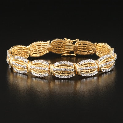 TWo Tone Diamond Paneled Bracelet