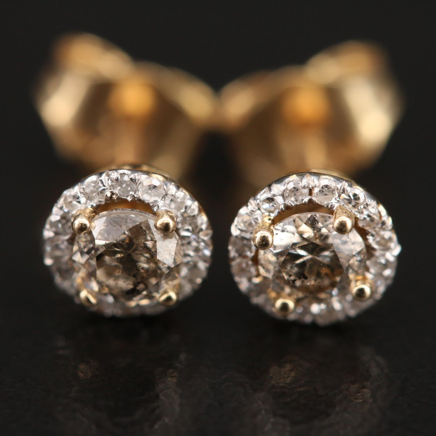14K 0.48 CTW Diamond Halo Earrings