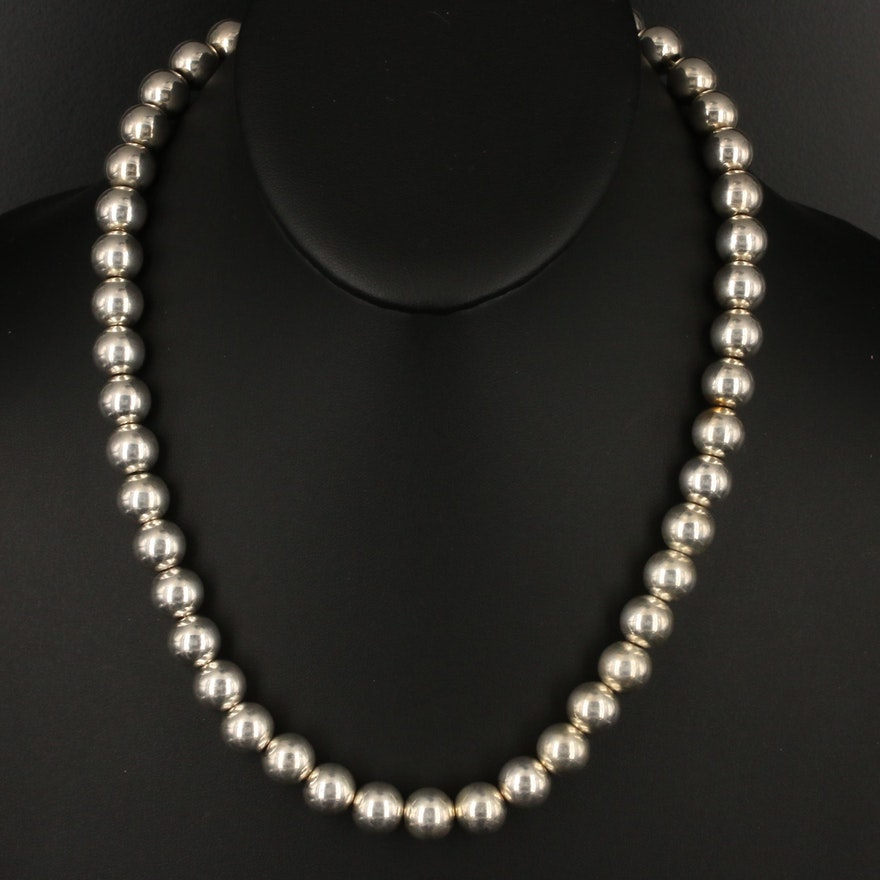 Italian Sterling Silver Bead Necklace