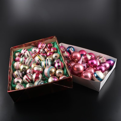 Shiny Brite and Other Glass Christmas Ornaments, Mid-20th Century
