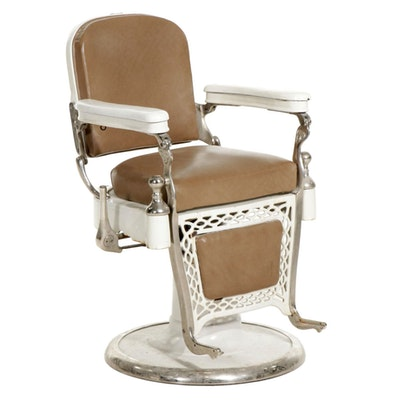 Porcelain, Chrome and Iron Barber's Chair, Mid-20th Century