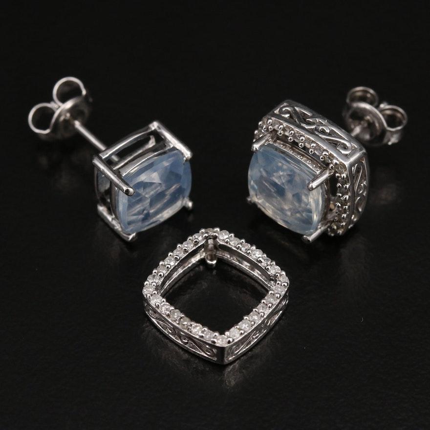 Sterling Opal Stud Earrings with Diamond Enhancers