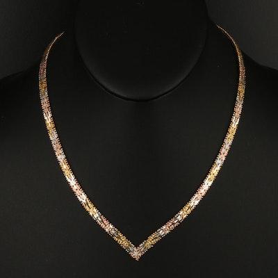 Italian Tri-Color Sterling Riccio Chain Chevron Necklace
