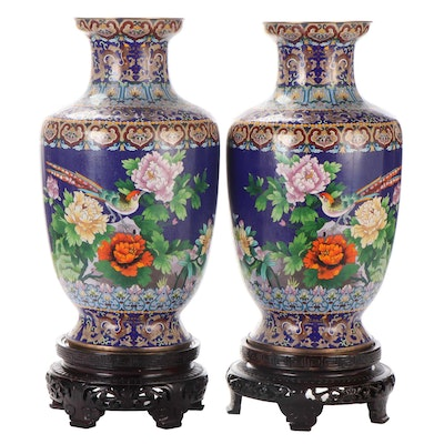 Chinese Monumental Cloisonné Floor Vases, Early 20th Century