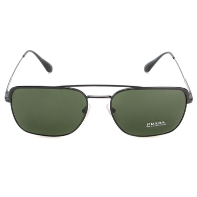 Prada SPR 53V Avio Sunglasses in Black with Case and Box