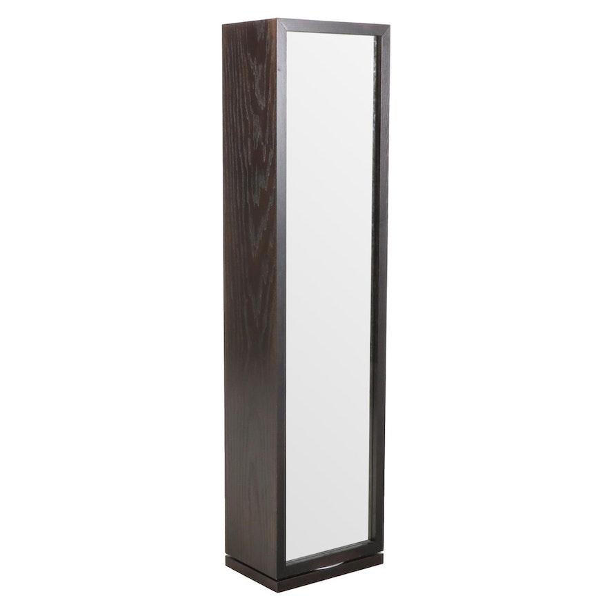 Ebonized Wood Swivel Full Length Vanity Mirror with Storage Shelving