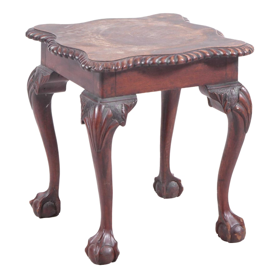 Chippendale Style Carved Mahogany Low Side Table, Early 20th Century