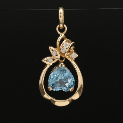 14K Spinel and Diamond Pendant