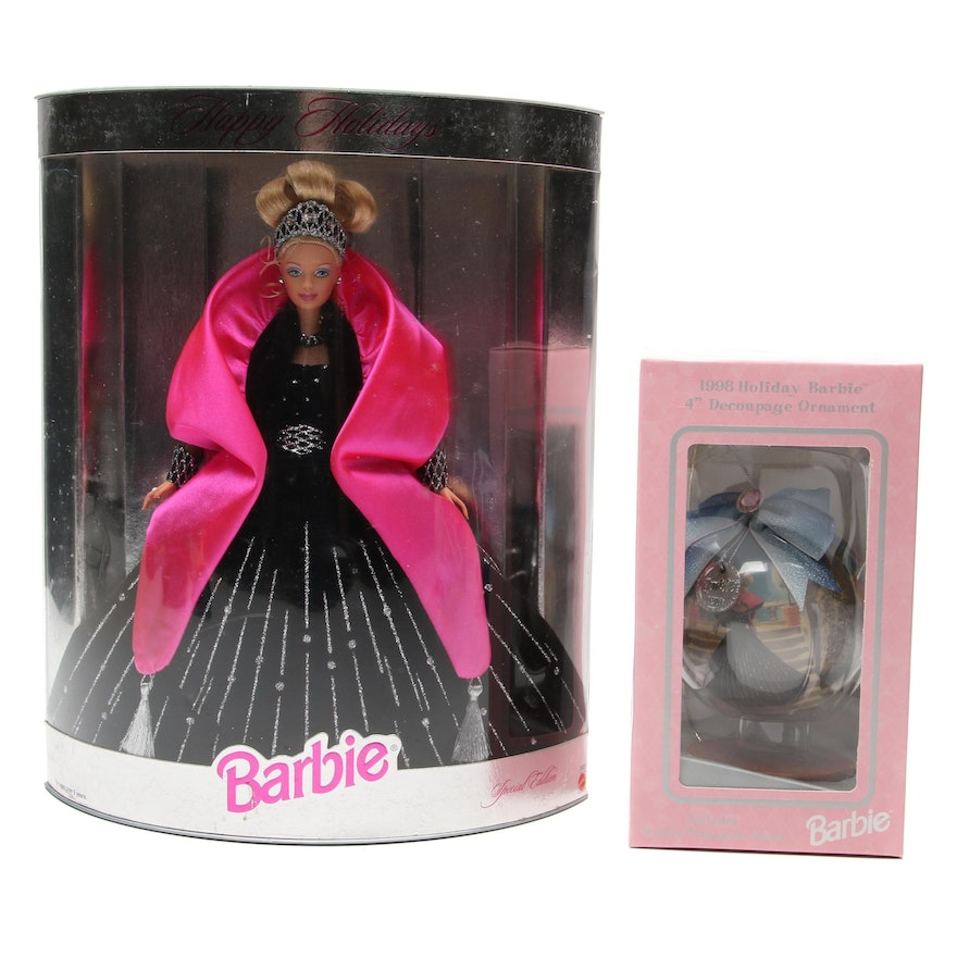 """Mattel Barbie """"Happy Holidays"""" Doll with Matching Ornament"""