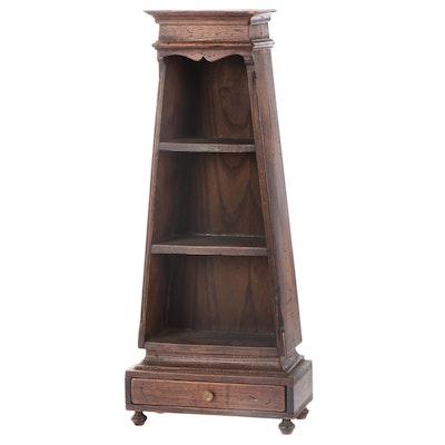 Small Elm Obelisk-Form Bookcase, 20th Century
