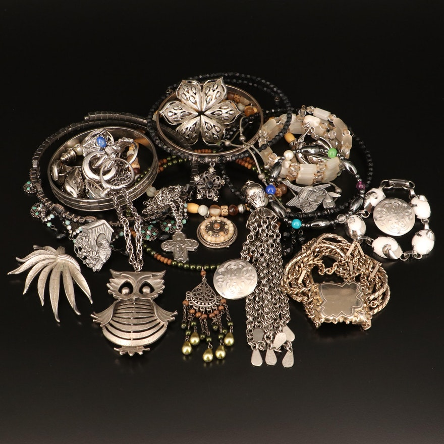 Jewelry Grouping Including Chokers, Necklaces, Rings, Brooches and Earrings