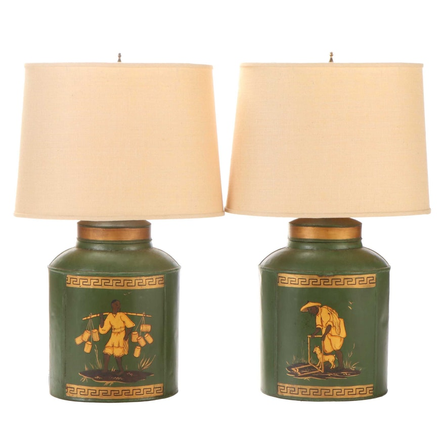 Hand-Painted Tea Canister Table Lamps, Early to Mid 20th Century