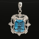 Swiss Blue Topaz and Diamond Pendant