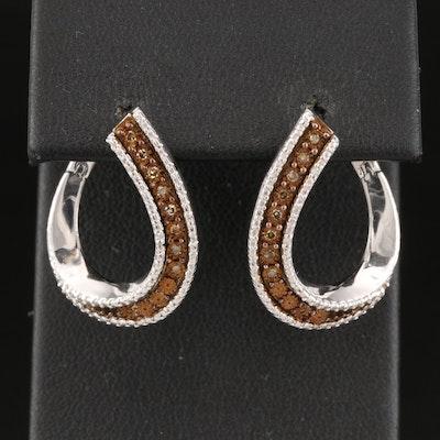 Sterling Diamond Twist Hoop Earrings