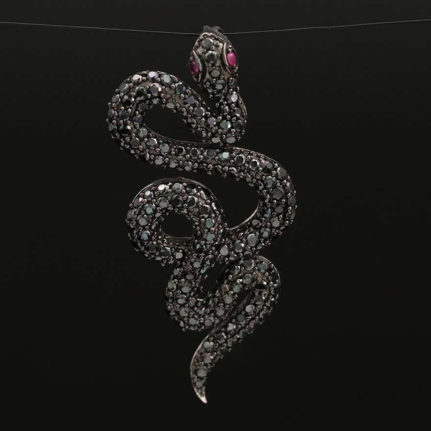 Sterling Ruby and Spinel Serpent Pendant