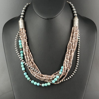 Sterling Heishi Turquoise and Shell Beaded Multi-Strand Necklace