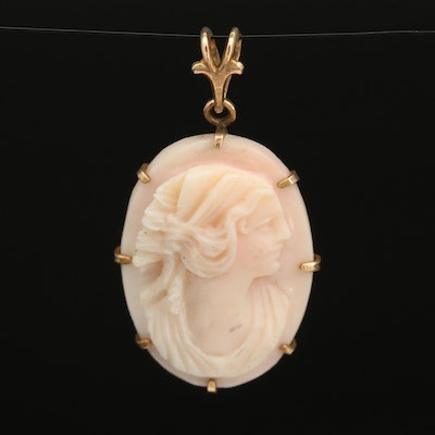 Vintage Swift and Fisher 10K Shell Cameo Pendant