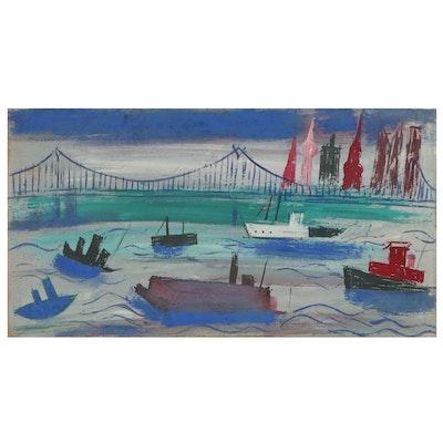 Esther Phillips Folk Art Gouache Painting of Harbor Scene