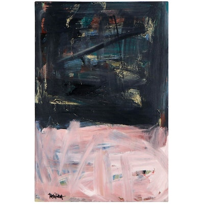 """Robbie Kemper Abstract Acrylic Painting """"Black Wash Over Pink Wash,"""" 2019"""